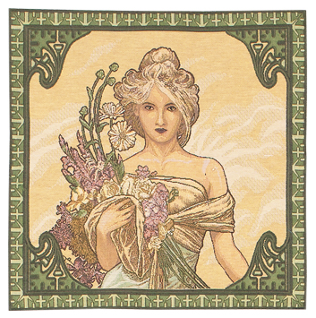Tapestries - Mucha Spring - loomTapestry, wall hangings, tapestries